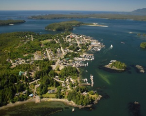 Photograph: Aerial view of Tofino, Vancouver Island